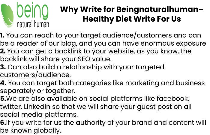 Why Write for Beingnaturalhuman– Healthy Diet Write For Us
