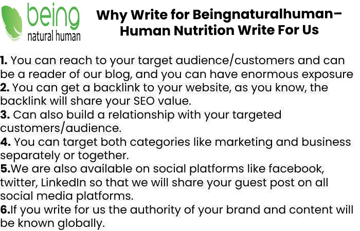Why Write for Beingnaturalhuman– Human Nutrition Write For Us