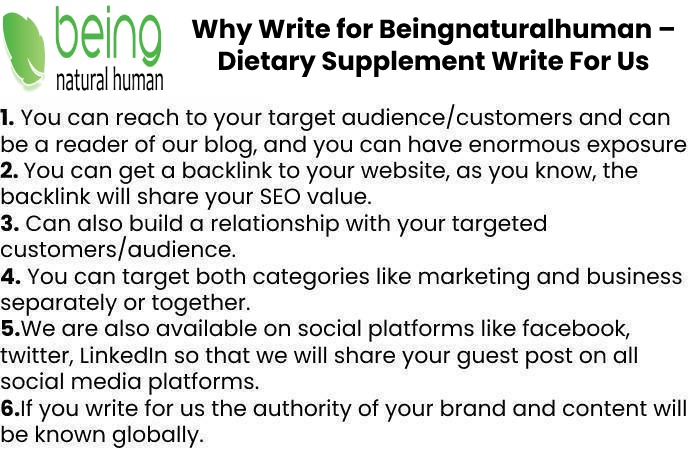 Why Write for Beingnaturalhuman – Dietary Supplement Write For Us