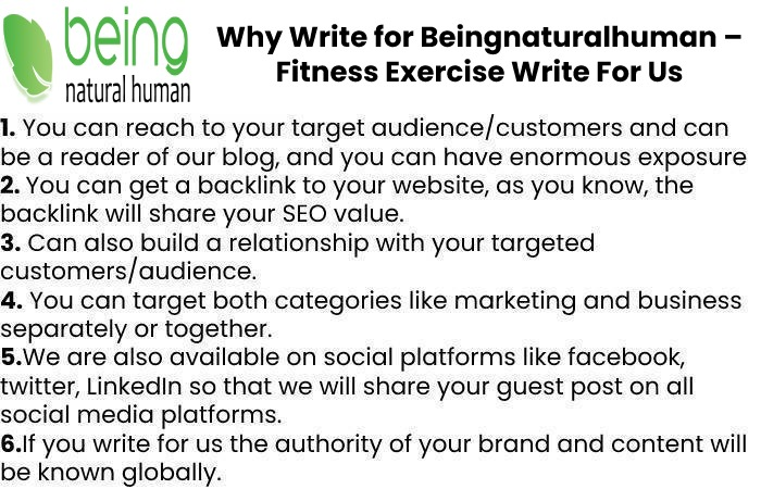 Why Write for Beingnaturalhuman – Fitness Exercise Write For Us