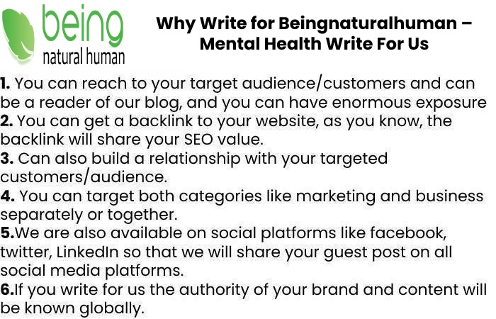 Why Write for Beingnaturalhuman – Mental Health Write For Us