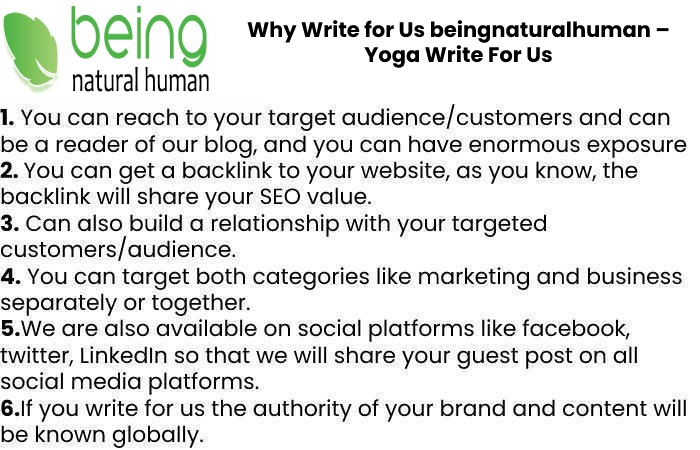 Why Write for Us beingnaturalhuman – Yoga Write For Us