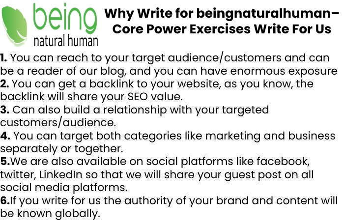 Why Write for beingnaturalhuman– Core Power ExercisesWrite For Us